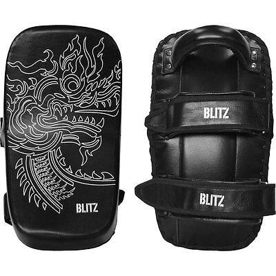 Pair of Blitz Firepower Leather Curved Angled Thai Pads Muay Thai Martial Arts