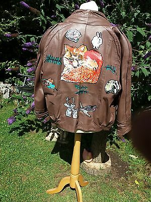 Ladies Brown Leather Hand Painted Coat With Woodland Theme Size 14