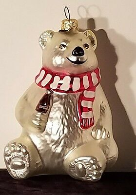 Coca Cola Polonaise Blown Glass Coke Polar Bear  Ornament