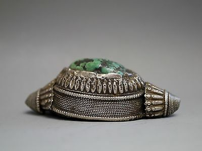Large Antique Tibetan Silver & Turquoise Hair Bead