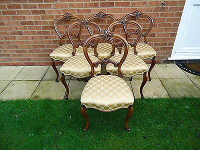 Genuine Antique Set Of Six Mid-Victorian Cabriolet Leg Dining Chairs In Walnut