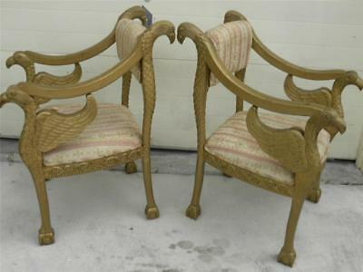 Gorgeous Elegant Vintage Empire Pair Of Double Eagle Carved Arm Chairs