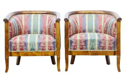 Pair Of Early 20Th Century Birch Lounge Armchairs