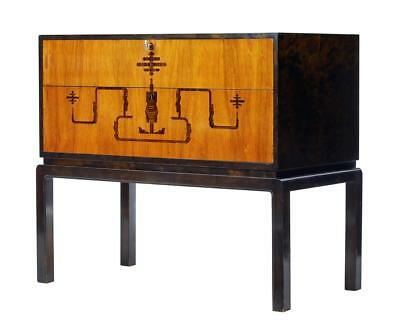 Swedish Late Art Deco Birch Inlaid Small Chest Of Drawers