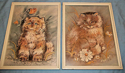 Long Hair Cat Prints Wood Framed & Signed Set of 2 Beautiful Vintage 17 x 13