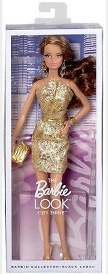 Barbie The Look CITY SHINE Gold Dress Brunette Model Muse Doll NEW IN BOX