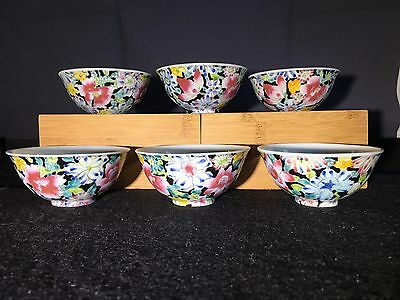 Group of 6 Chinese Antique Famille Rose Porcelain Cups.