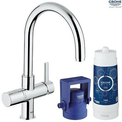 GROHE 31087 001 Blue Pure Filter Kitchen Mixer Starter Kit, Chrome, 31087001