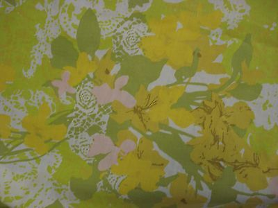 vtg Retro FULL FLAT Sheet Lady Pepperell 60s abstract floral yellow green pink