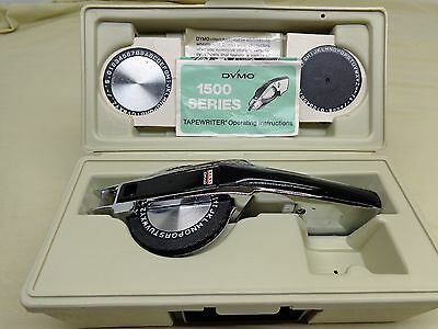 Vintage Dymo Deluxe 1500 Series Chrome Tapewriter Kit.
