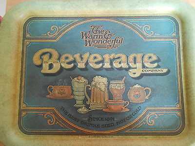 The Warm and Wonderful Beverage Company Tin Serving Tray. Vintage 1979