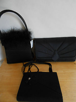 Lot of 3 Handbags. Black Evening Bags. Vintage and New