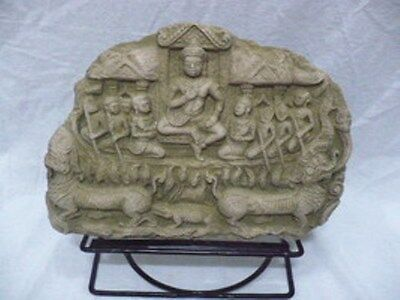 Cambodian Angkor Wat Apsaras Khmer With Stand Sand Stone Collectible Vin Tage  7