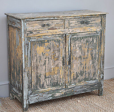 Antique French Painted Pine Cabinet Cupboard Dresser Vintage