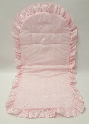 Broderie Anglaise Pram Liner Frilly Romany Beautiful 4 Baby Buggy Pushchair Pink