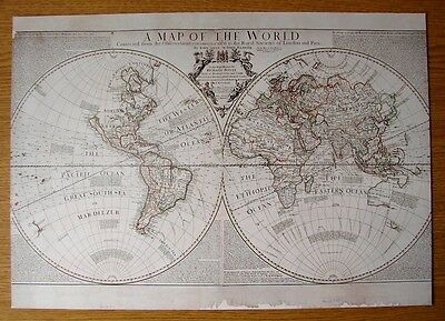 Beautiful & Collectable Reproduction On Card Of The World  Senex & Maxwell 1711