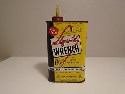 Vintage Liquid Wrench Tin Can Poison Skull and Crossbones - One Pint, Empty