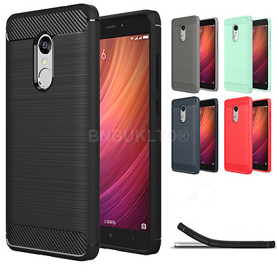 Carbon Fibre Gel Case Cover Brushed For Xiaomi Mobiles & Glass Screen Protector