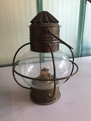 Wedge Vintage Copper & Brass Hanging Ships Onion Lamp Light Nautical Maritime