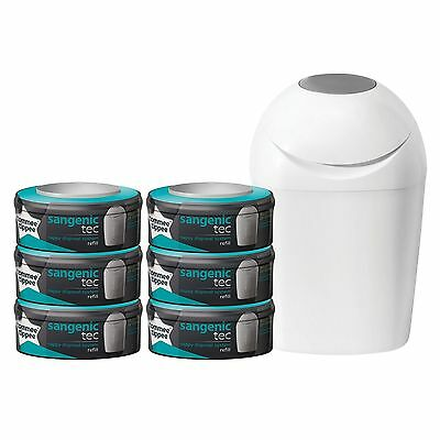 Tommee Tippee Sangenic Tec Nappy Disposal Starter Pack - White Tub + 6 Cassettes