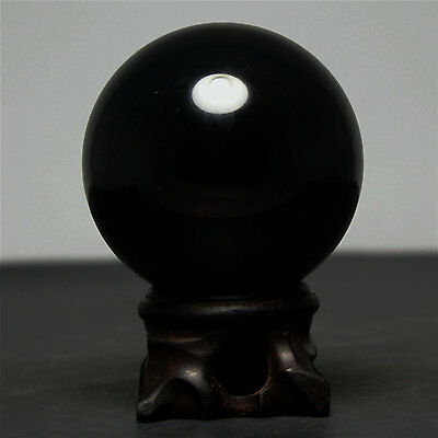 "2.3"" 288g Natural Black Obsidian Divination Sphere Crystal Ball with Wood Stand"