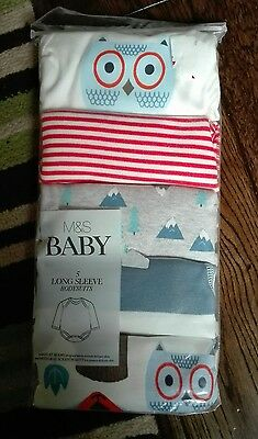 M&S Baby Boy/Girl 5 Pack Long Sleeve Bodysuits 0-1 Months NEW