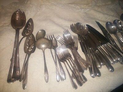 Silver Plate and Stainless Steel Mixed Collection of Flatware