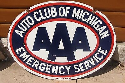 Original AAA Triple A Michigan Advertising Porcelain Double Side Sign *Gas & Oil