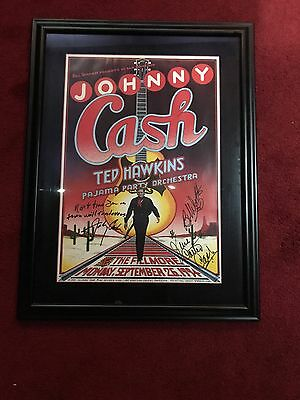 Johny Cash Poster Autographed By June And Johnny