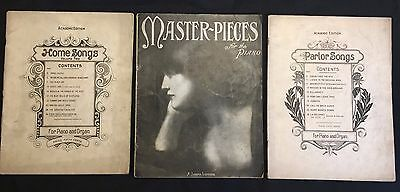 Antique lot of 3 Master pieces for the piano, Parlor and Home songs, 1905