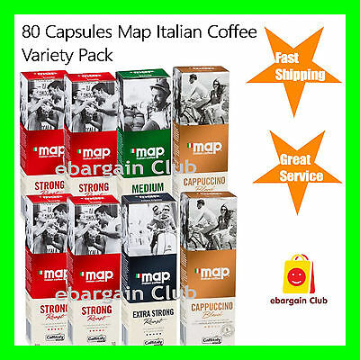 80 Capsules Map Italian Coffee Variety Pack Mix Capsule Pod Caffitaly System eBC
