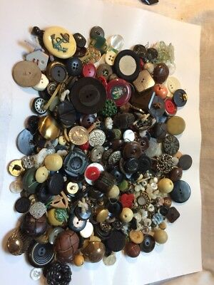 Great Lot Of Vintage Buttons Mixed Lot 1 3/4 Lbs