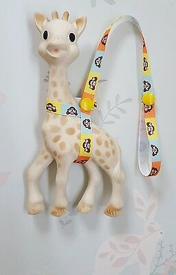 Sophie The Giraffe Harness Strap Saver Monkey Design & Yellow Poppers.