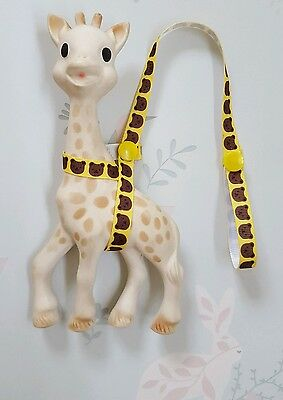 Sophie The Giraffe Harness Yellow Ribbon Teddy Bear Design & Yellow Poppers.