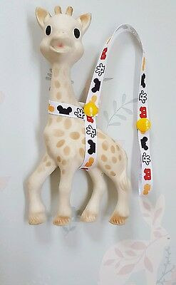 Sophie The Giraffe Harness Strap Saver Mickey Mouse Design & Yellow Poppers.