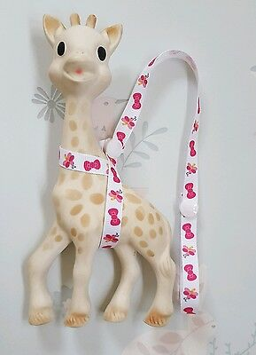 Sophie The Giraffe Harness Strap Pink Butterfly and Bow Design & White Poppers.