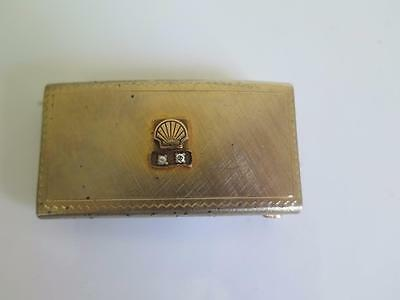 a82 Vintage SHELL OIL and Gas Co Natural Diamond Gold Plated Belt Buckle RARE