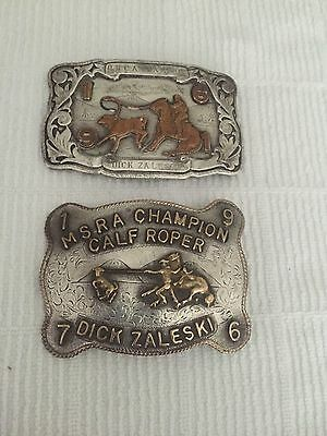 Sterling Silver Belt Buckle Rodeo Champion Qty 2