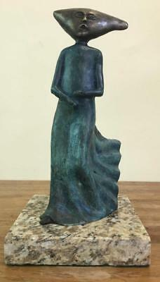 """Sergio Bustamante Bronze Sculpture """"moon With Dress"""" Signed And Numbered"""