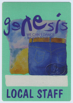 GENESIS 1992 CAN'T DANCE Backstage Pass STAFF green