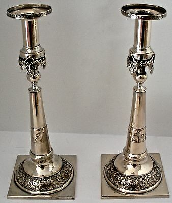 "Early Silver 12 Lot German 18Th Century Hand Chased 11 1/4"" Candlesticks C. 1780"