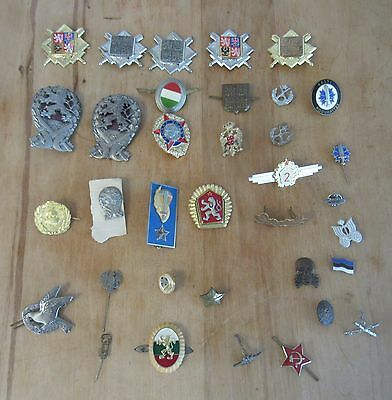 Nice Lot Of 35 Foreign European Military Army Metal Insignia Badges, ++ #1
