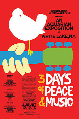 Woodstock Red Poster (24x36) With Choice of Rolled, Frame or Plaque