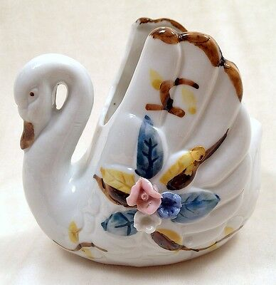 Vintage Swan Planter Hand Painted Figurine Roses Porcelain Dish Ring Holder