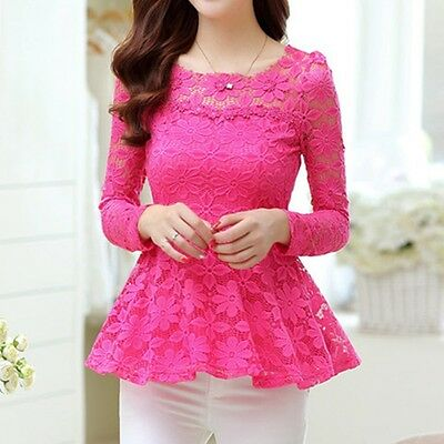 Ladies Lace Slim Fitted Peplum Skater Top Long Sleeve Shirt Blouse Over Size
