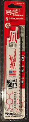 Milwaukee Double Duty 48-00-5712 6 in. 10 TPI Torch Saw Sawzall Blade (5 Pk) NEW