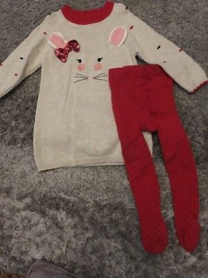 Girls Dress And Tights Set 6-9 Months