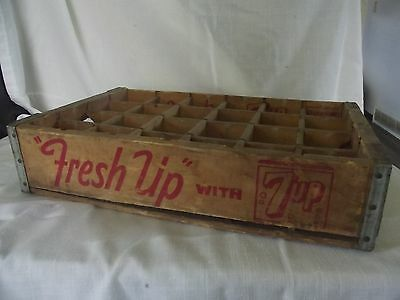 Old Vintage 7up Fresh Up with 7 Up Soda Advertising Wood Wooden Box Crate 24