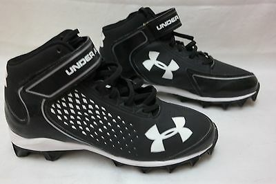 779be14cd6a9 NEW Under Armour Mens Renegade RM 1246276-001 Mid Football Cleat Blk/White  A43