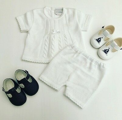 Traditional Spanish Style Baby Boys Knitted Outfit White Top & Shorts Cable Knit